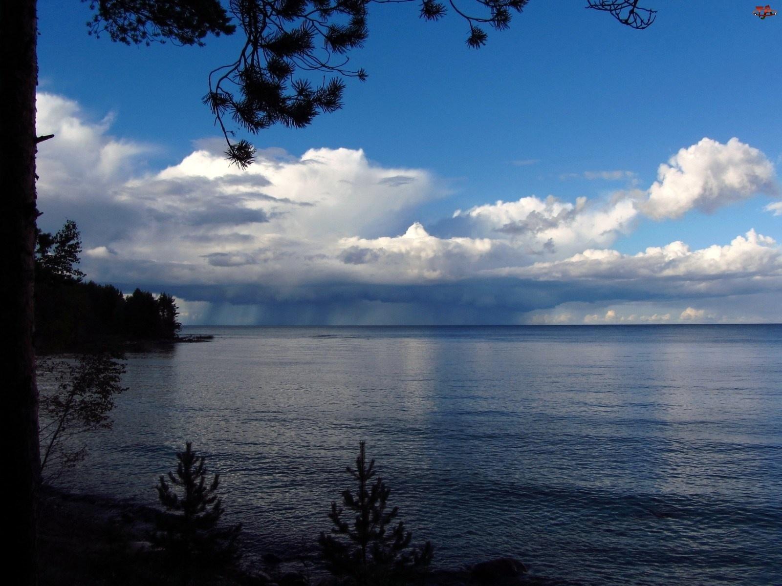 Drzewa, Chmury, Jezioro