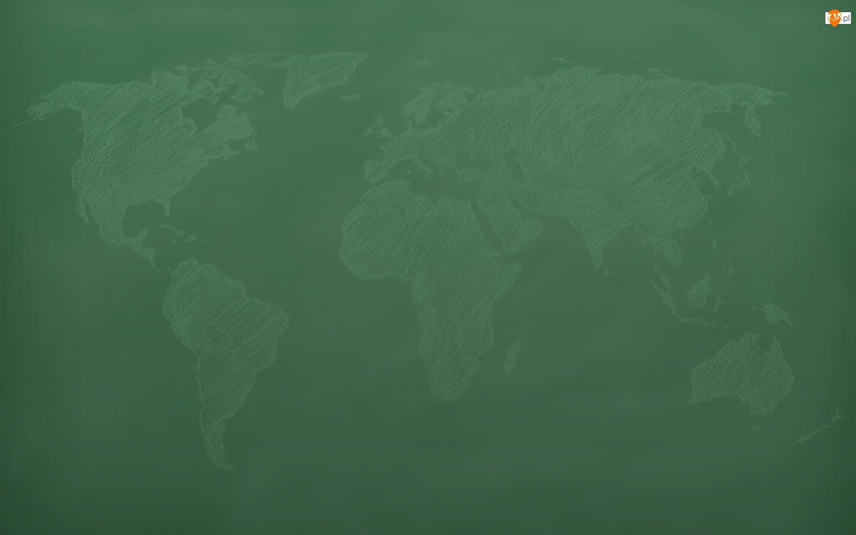 Mapa, Rysunek, Świat, Tablica