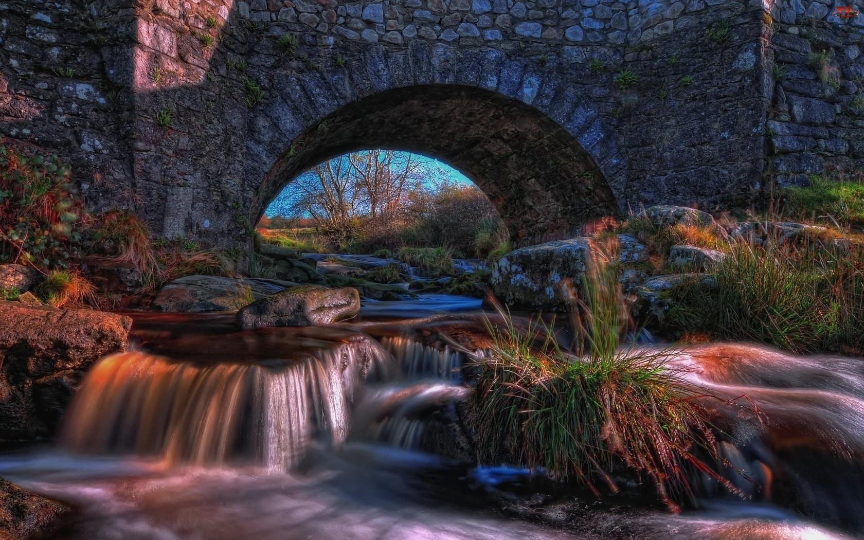 Rzeka, Słońca, Kamienny, Trawy, Most, Promienie