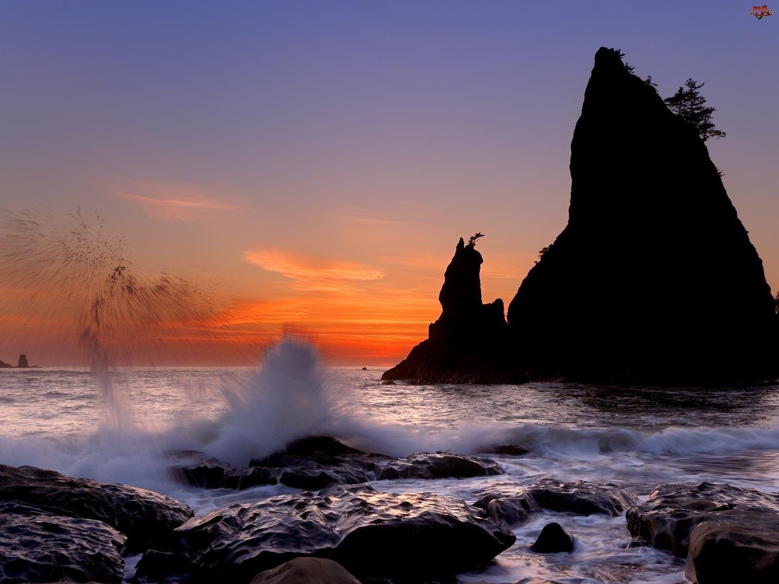 Zachód Słońca, Morze, Skały
