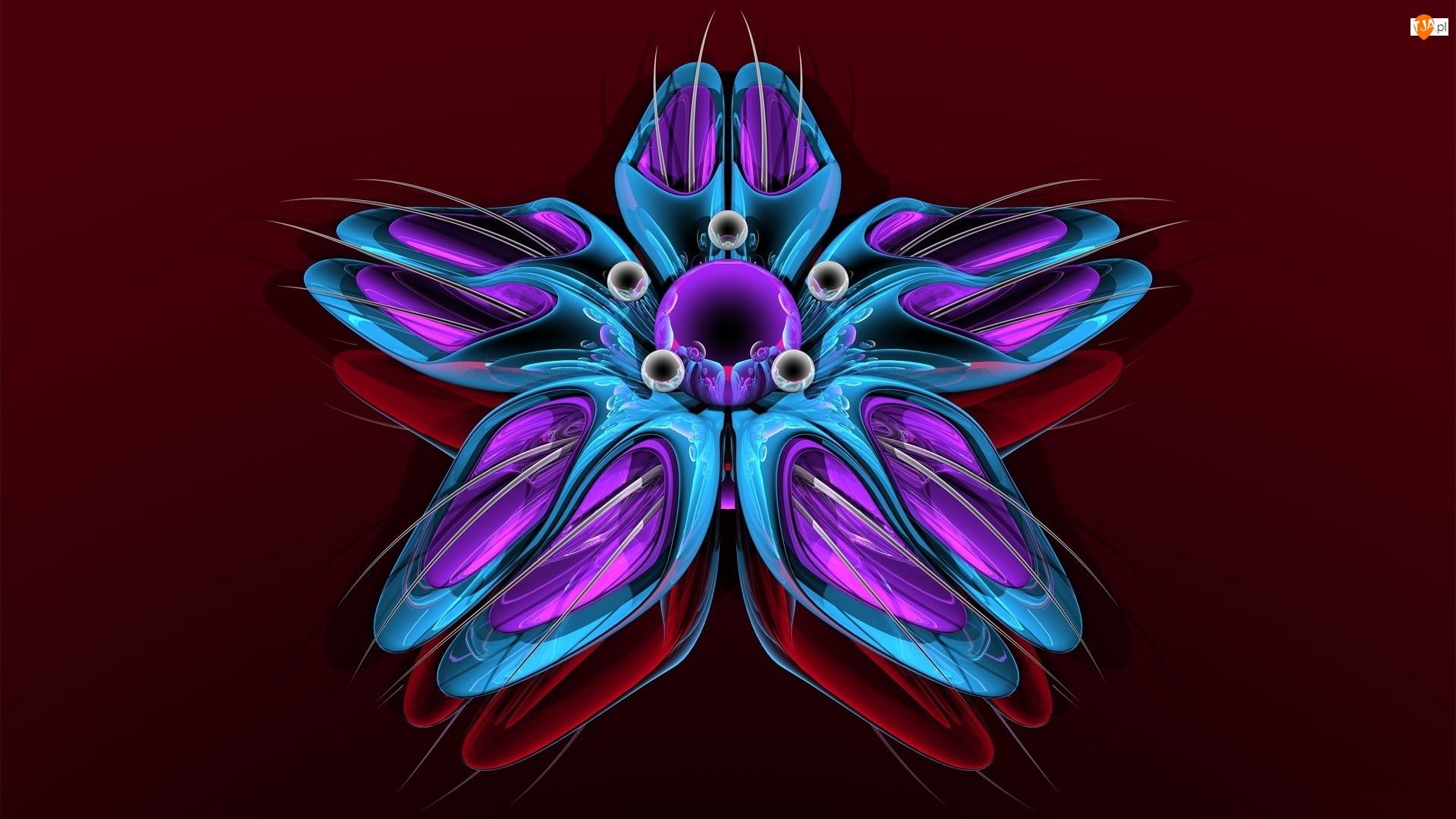 Grafika 3D, Niebieski, Kwiat