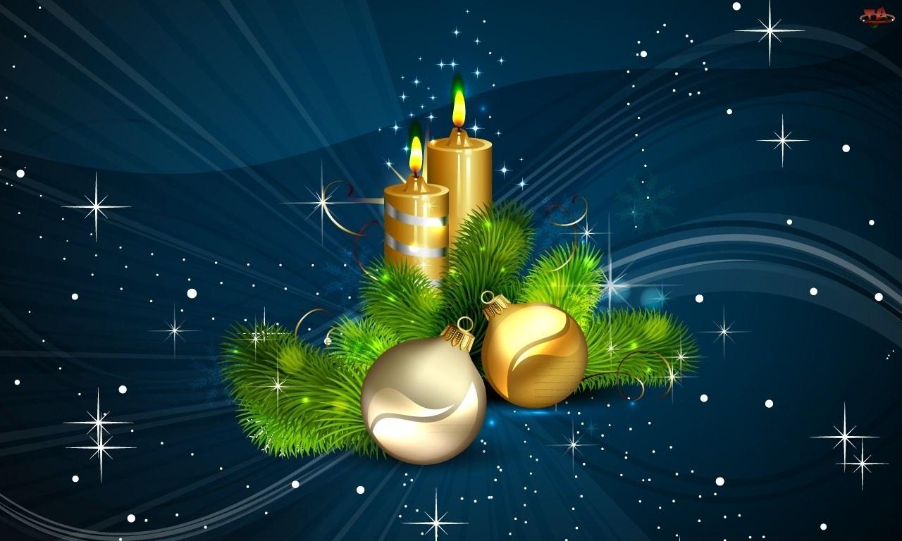 Bombki, Złote, Dekoracja, Świąteczna, Gwiazdki, Stroik, Świece