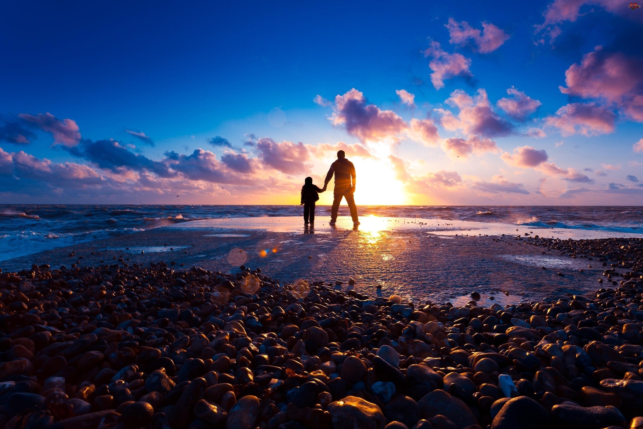 Morze, Mężczyzna, Zachód, Dziecko, Słońca, Kamienie