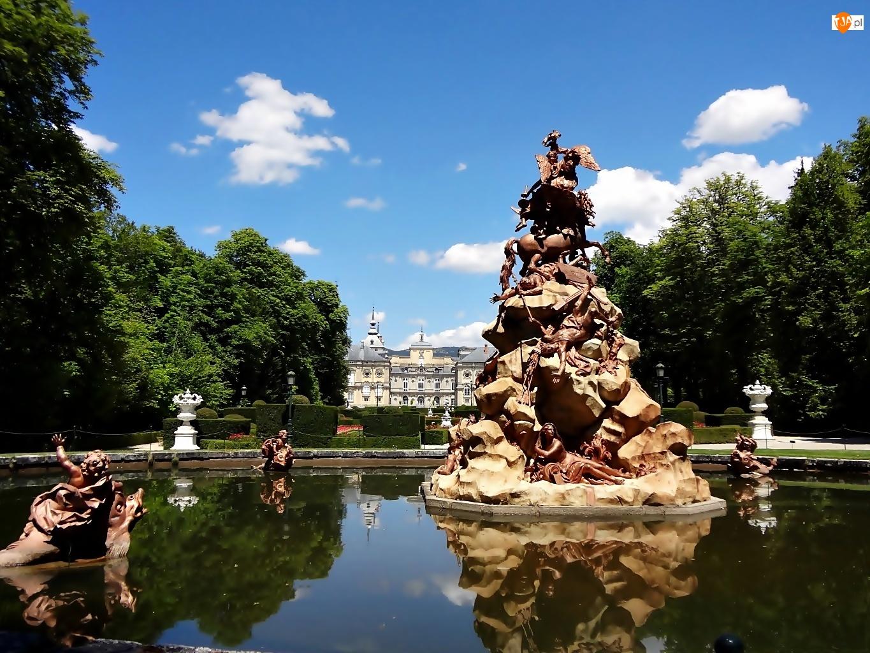 Fontanna, Park, Pałac, Madryt, Posąg, Królewski, Sadzawka