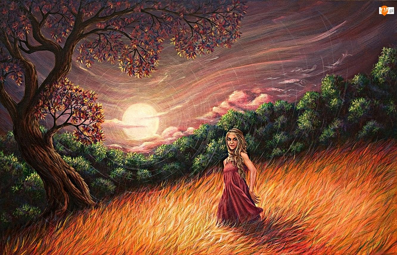 Rysunek, Dziewczyna, Trawy