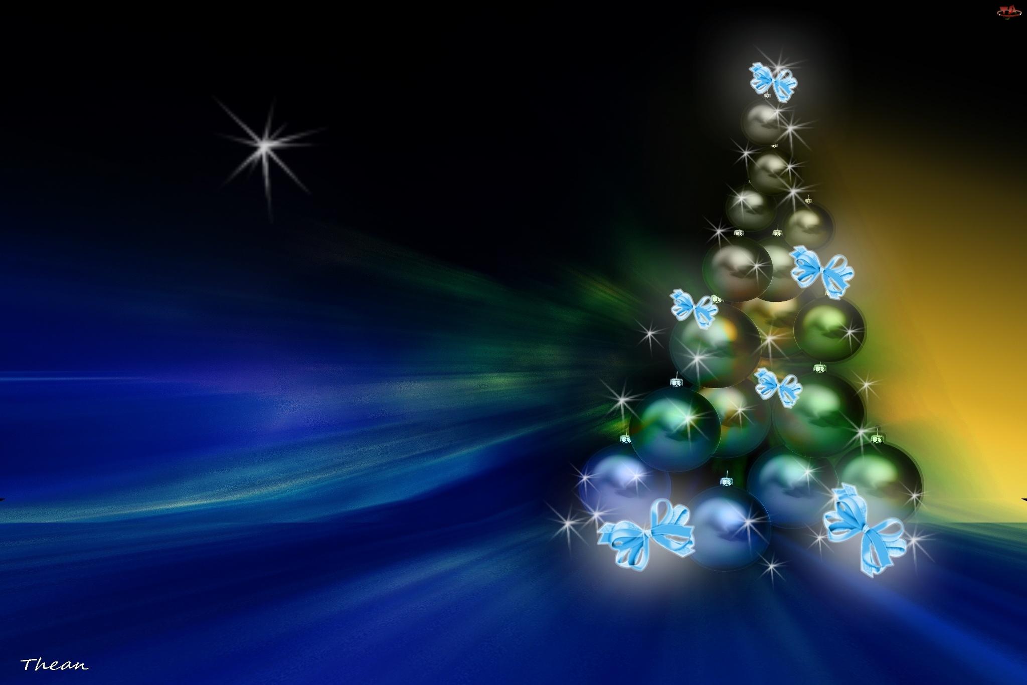 Boże Narodzenie, Choinka, Gwiazdki, Kokardki, Bombki
