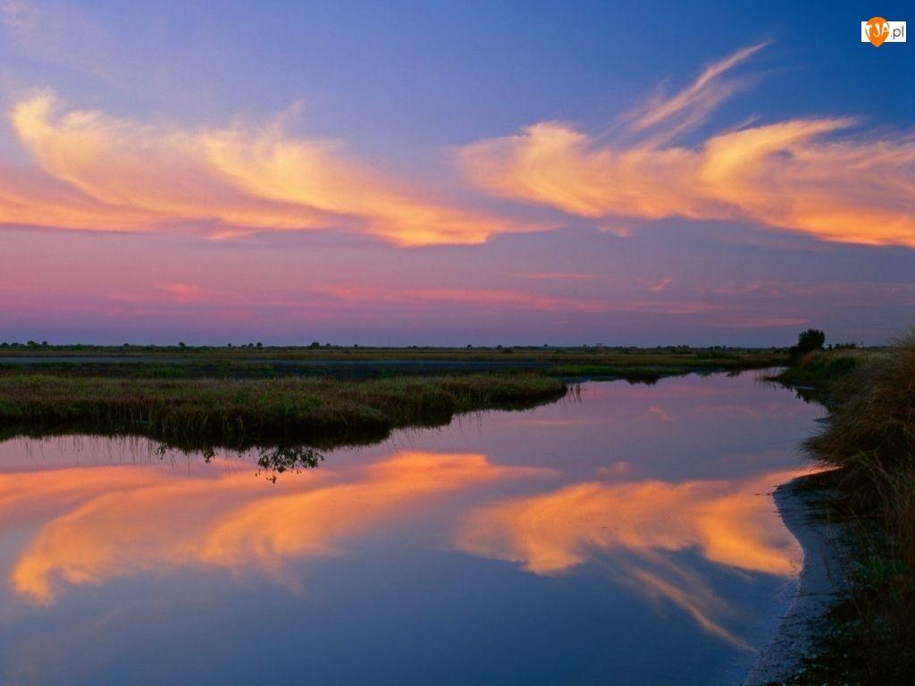 Chmury, Zachód Słońca, Bagno
