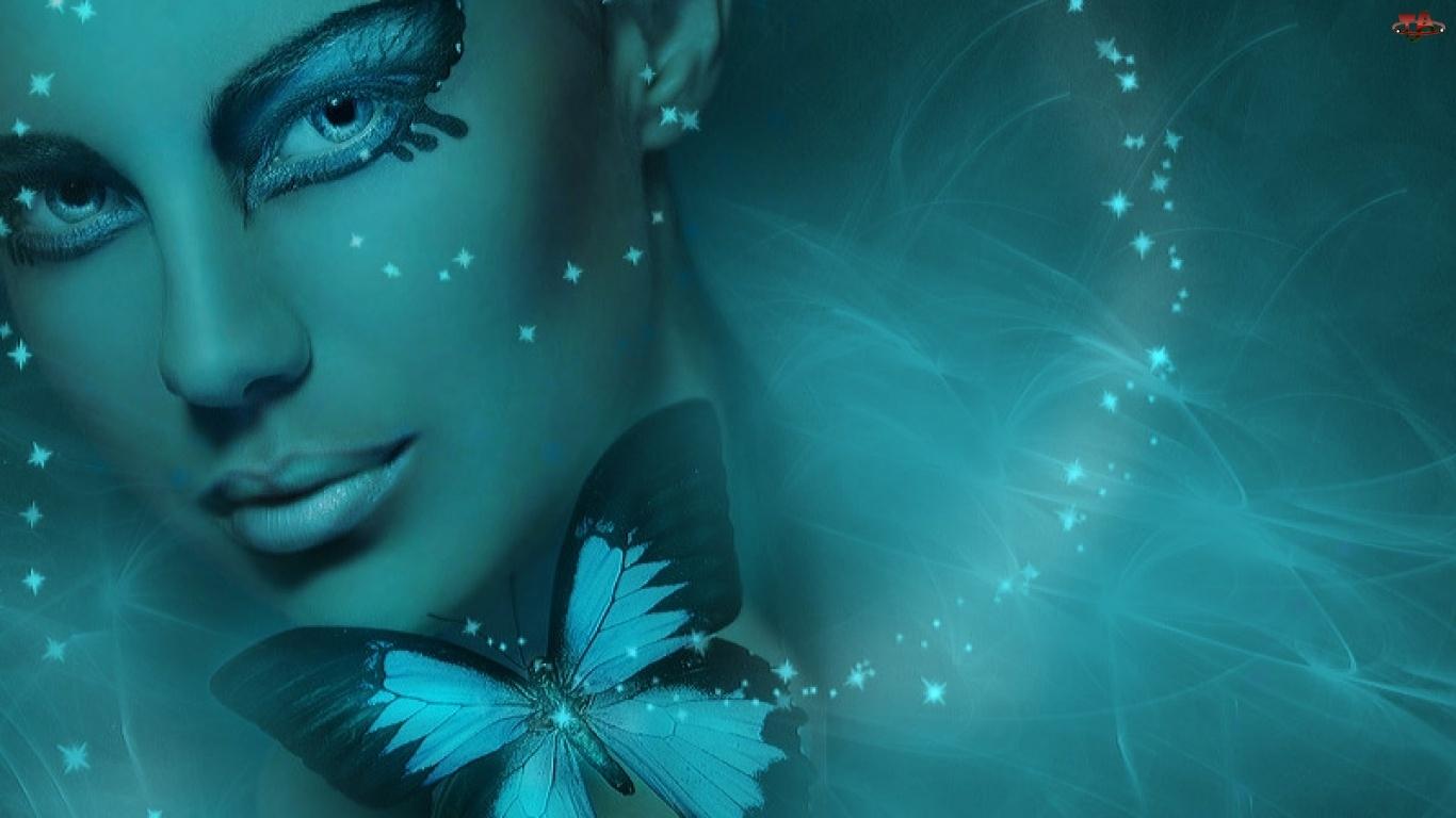 Makijaż, Kobieta, Motyl