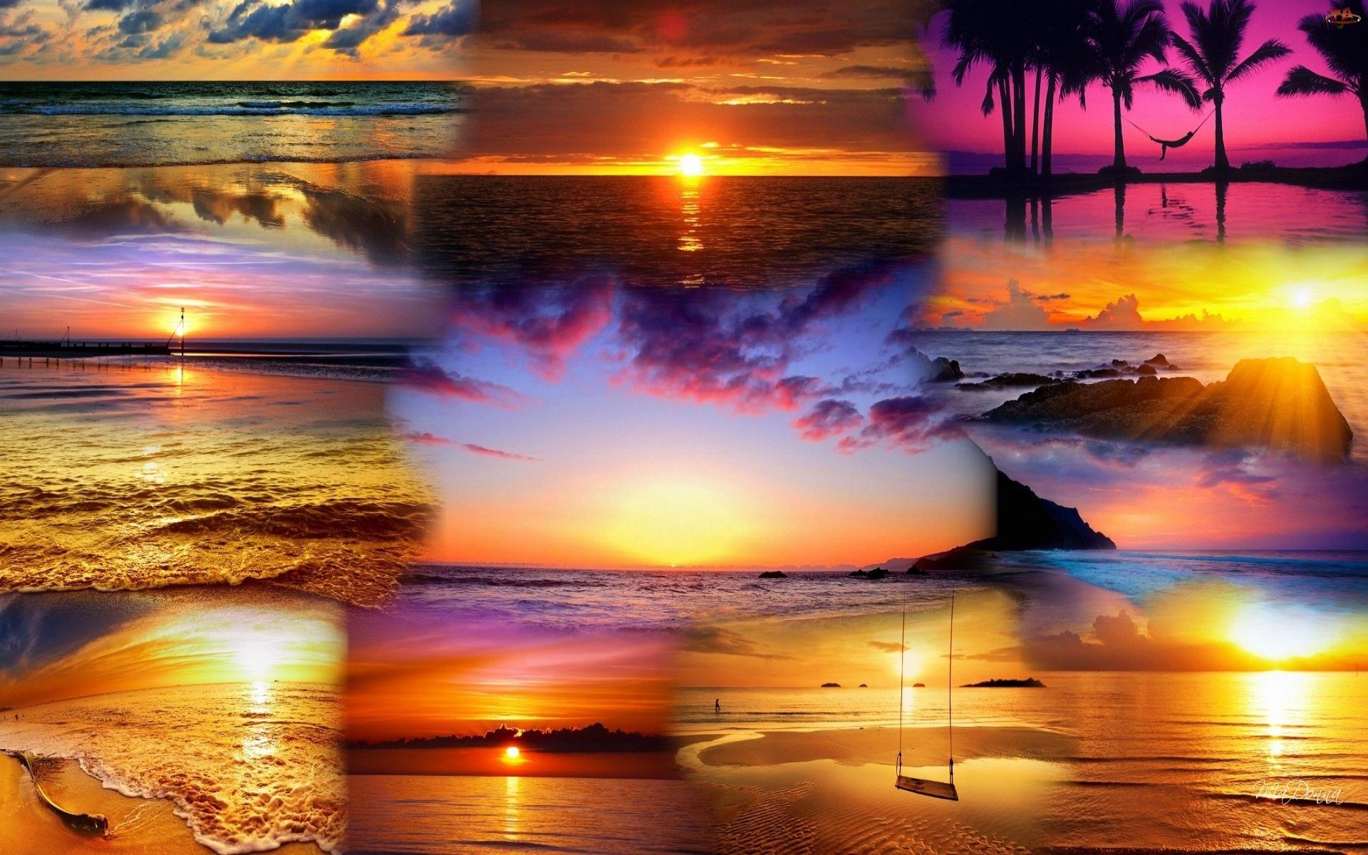 Zachód, Niebo, Słońca, Morze