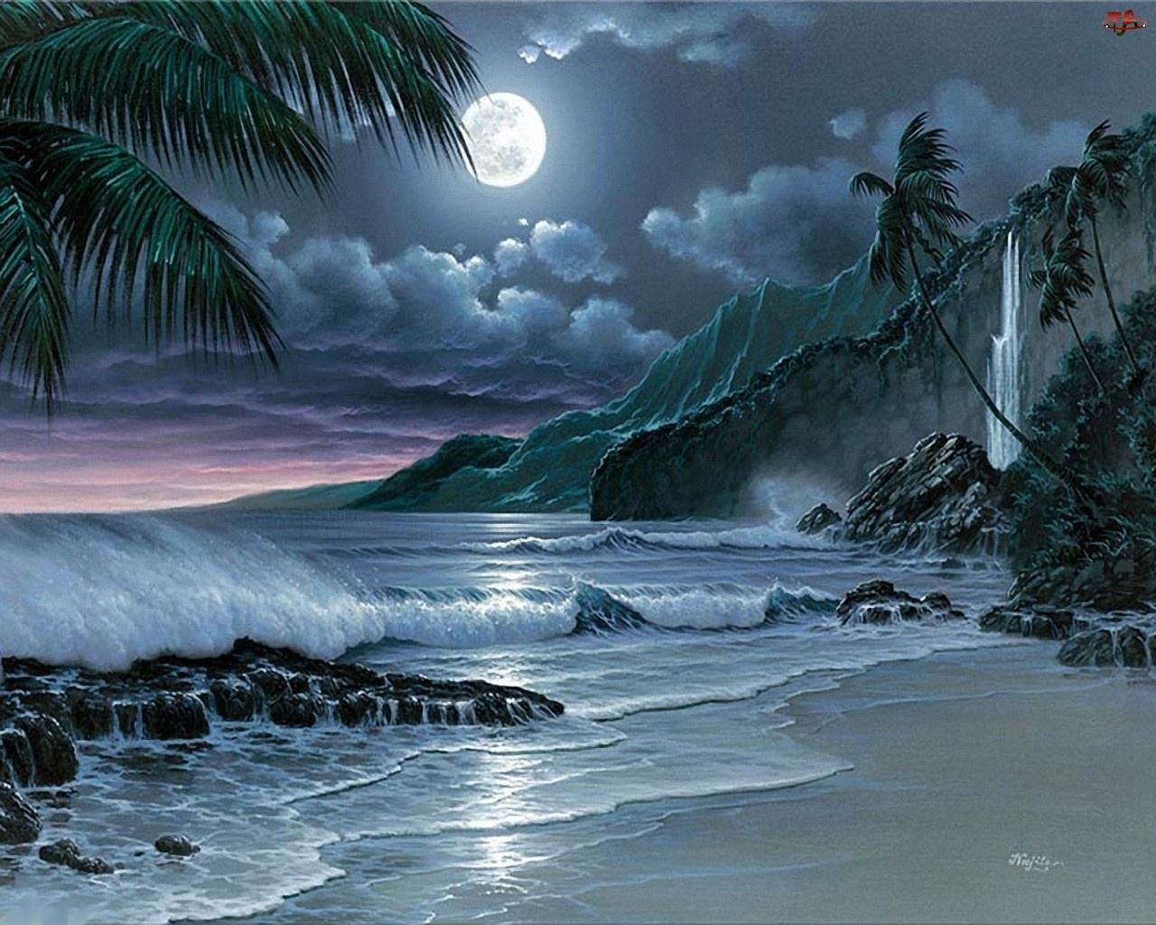 Księżyc, Morze, Góry, Plaża, Noc