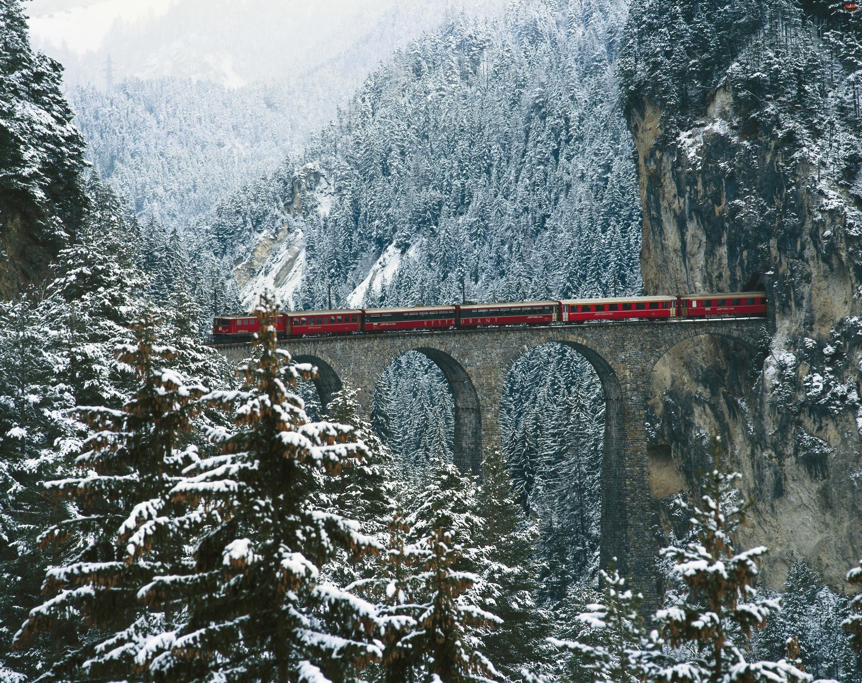 Zima, Góry, Tunel, Las, Pociąg