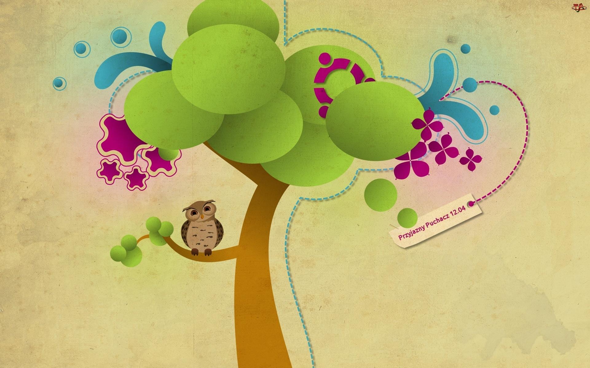 Sowa, Ubuntu, Drzewo, Przyjazny Puchacz