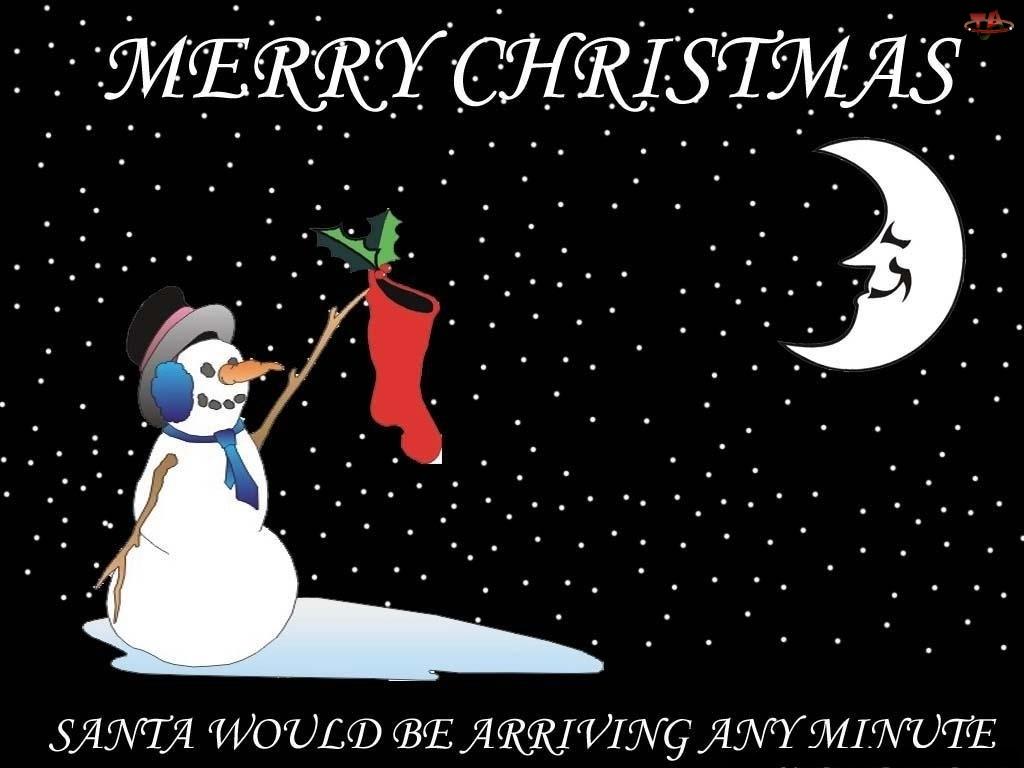 księżyc, Boże Narodzenie, bałwanek