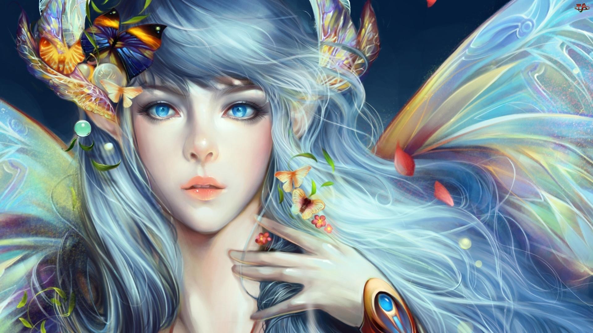Motyle, Niebieskooka, Kobieta