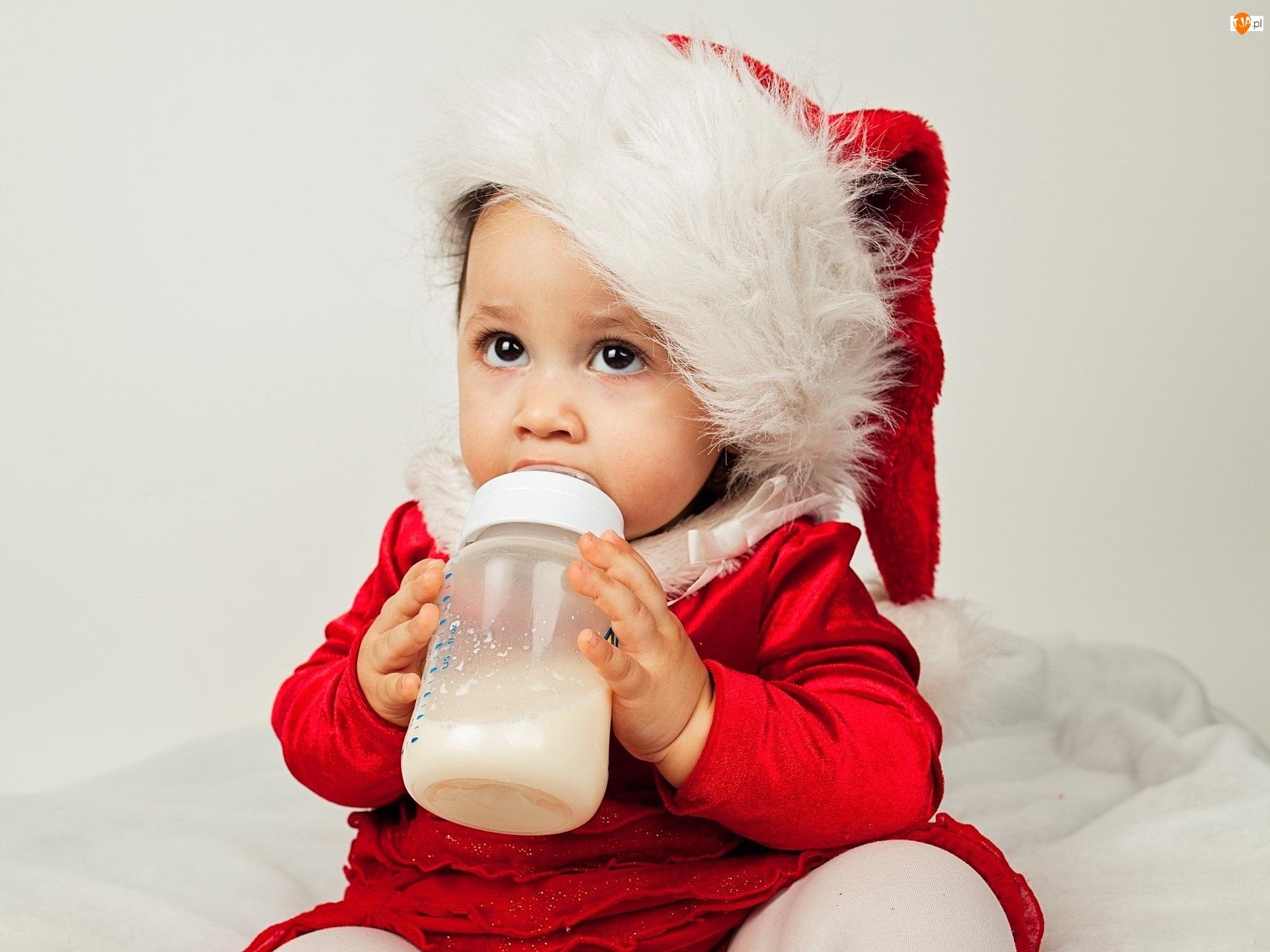 Małe, Boże Narodzenie, Dziecko, Butelka