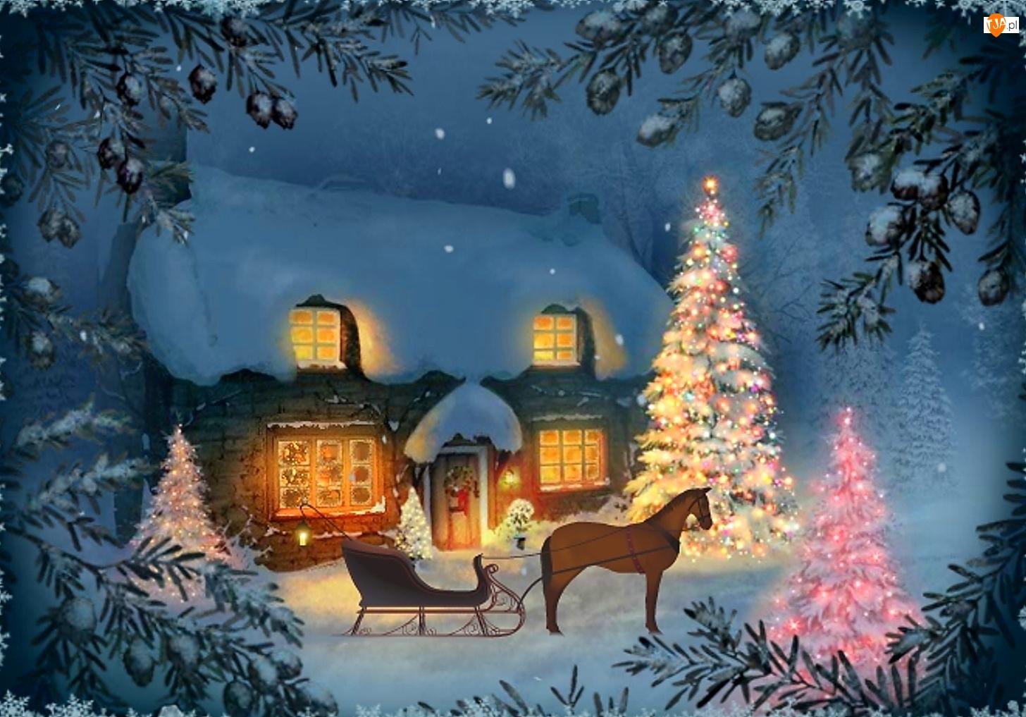Sanie, Narodzenie, Dom, Malarstwo, Choinka, Boże