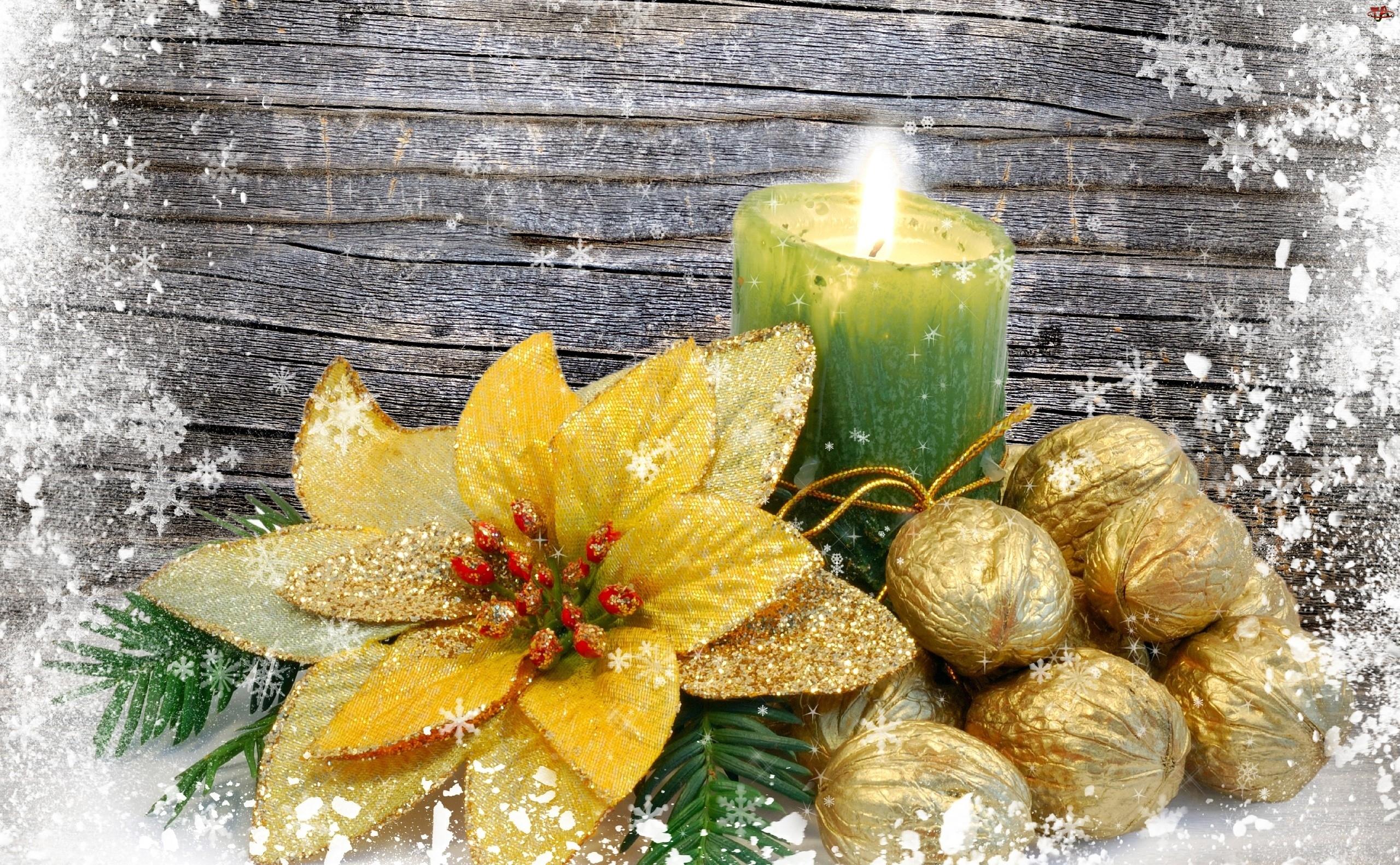Świeca, Świąteczny, Orzechy, Stroik