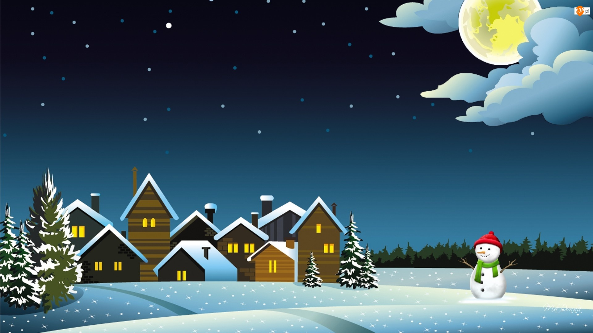 Красивые словами, новогодние картинки с домиком и снеговиком