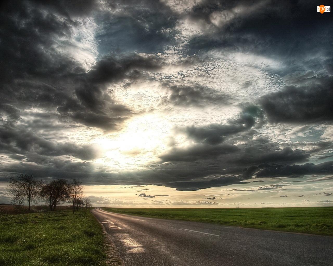 Światło, Droga, Burzowe, Chmury