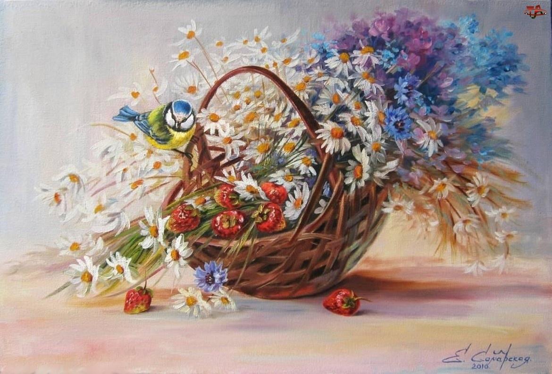 Koszyk, Poziomki, Polne, Kwiaty