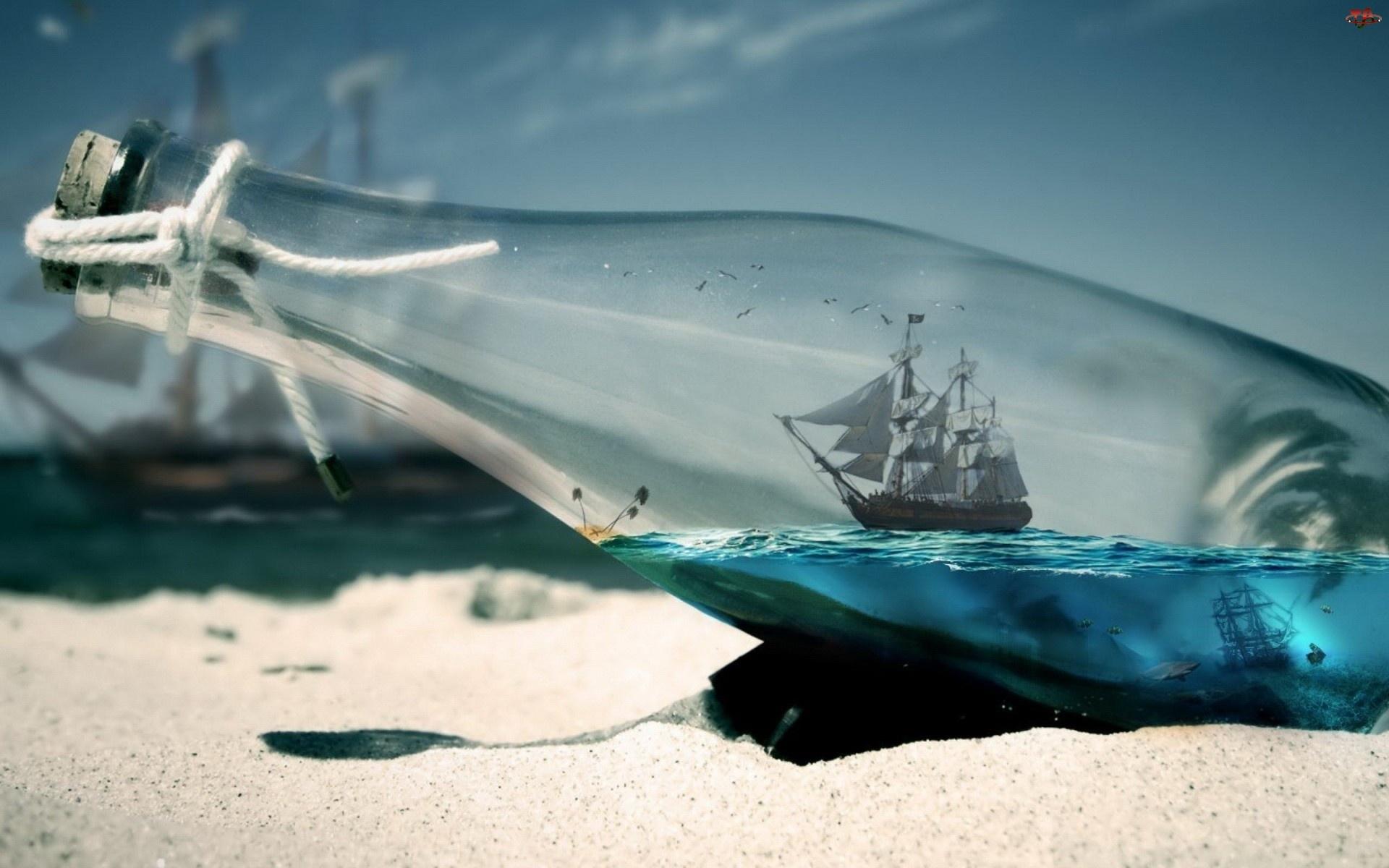 Statek, Plaża, Butelka