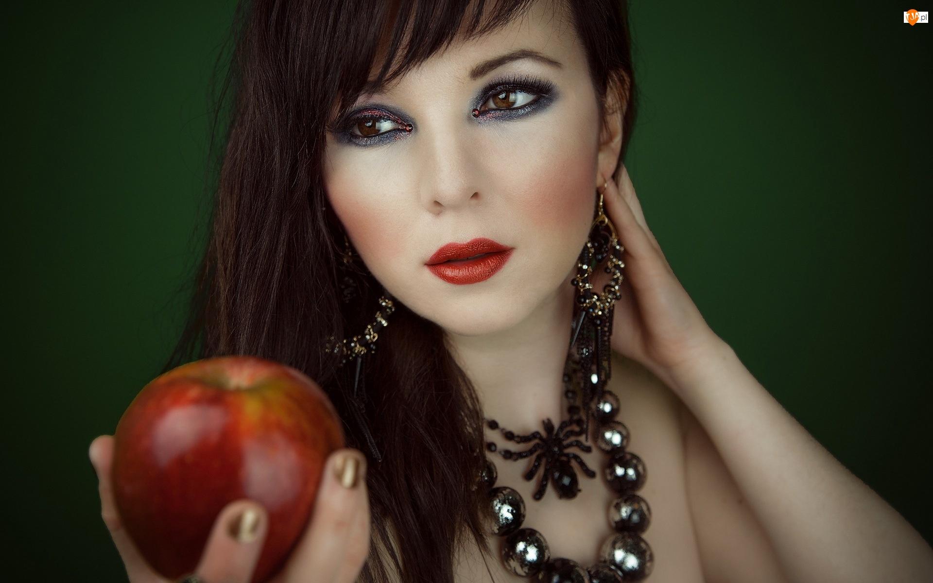 Kobieta, Jabłko, Biżuteria, Makijaż