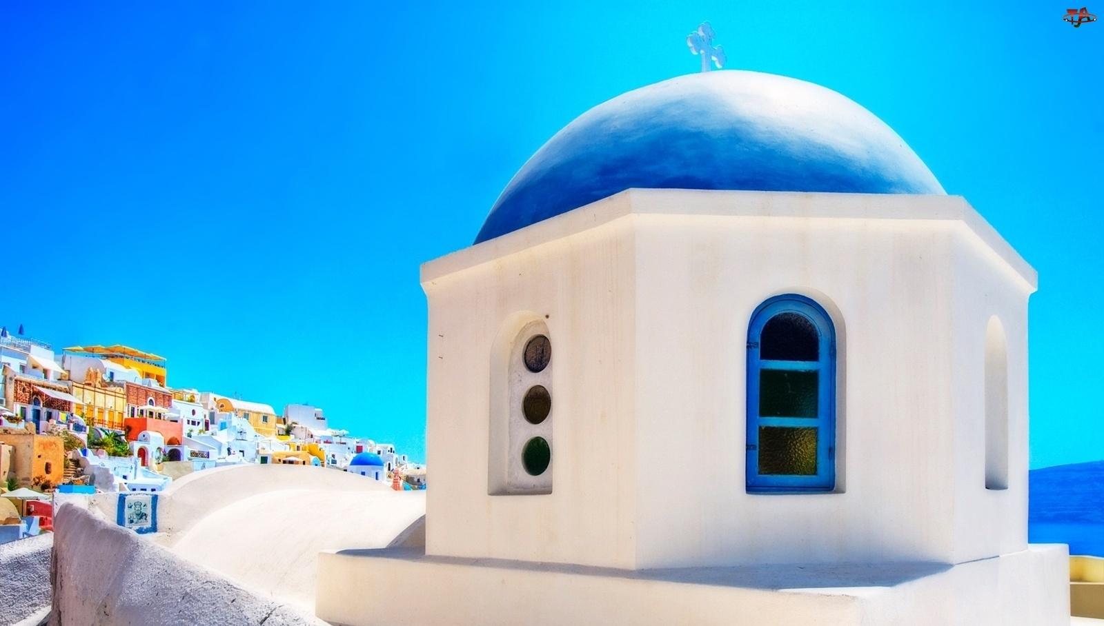 Kopuła, Cerkiew, Grecja, Santorini, Niebieska