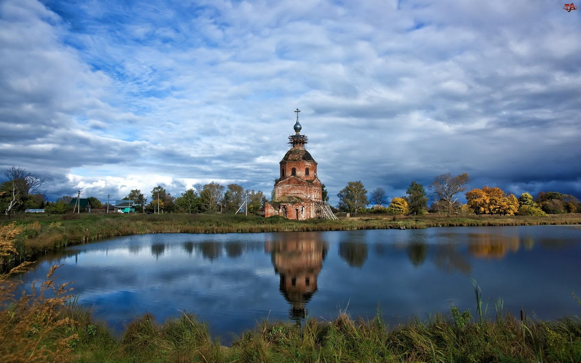 Chmury, Cerkiew, Jezioro, Ruiny, Drzewa