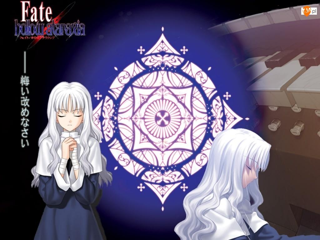 pianino, logo, Fate Stay Night, symbol, dziewczyny, napisy