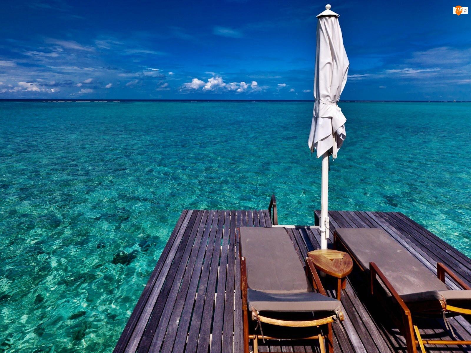 Relaks, Ocean, Woda, Krystaliczna, Leżaki
