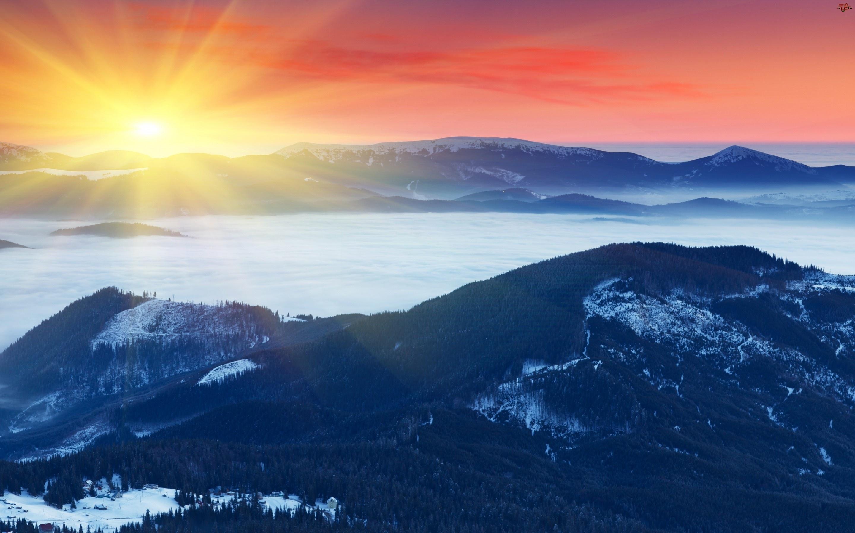 Zima, Zachód, Promienie, Słońca, Góry
