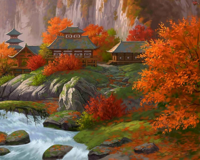 Malarstwo, Japońska, Rzeka, Pagoda, Jesień