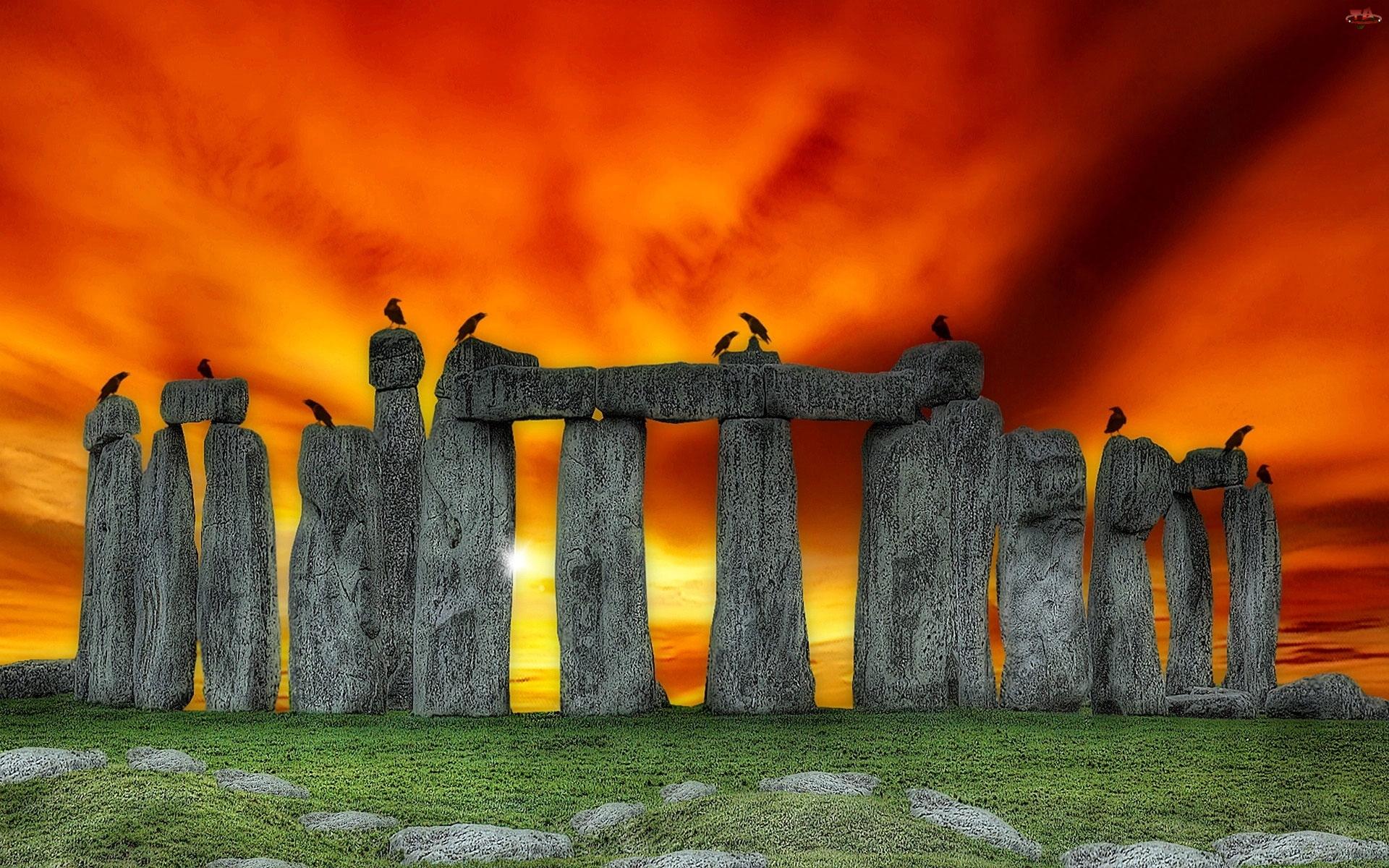 Stonehenge, Zachód, Słońca