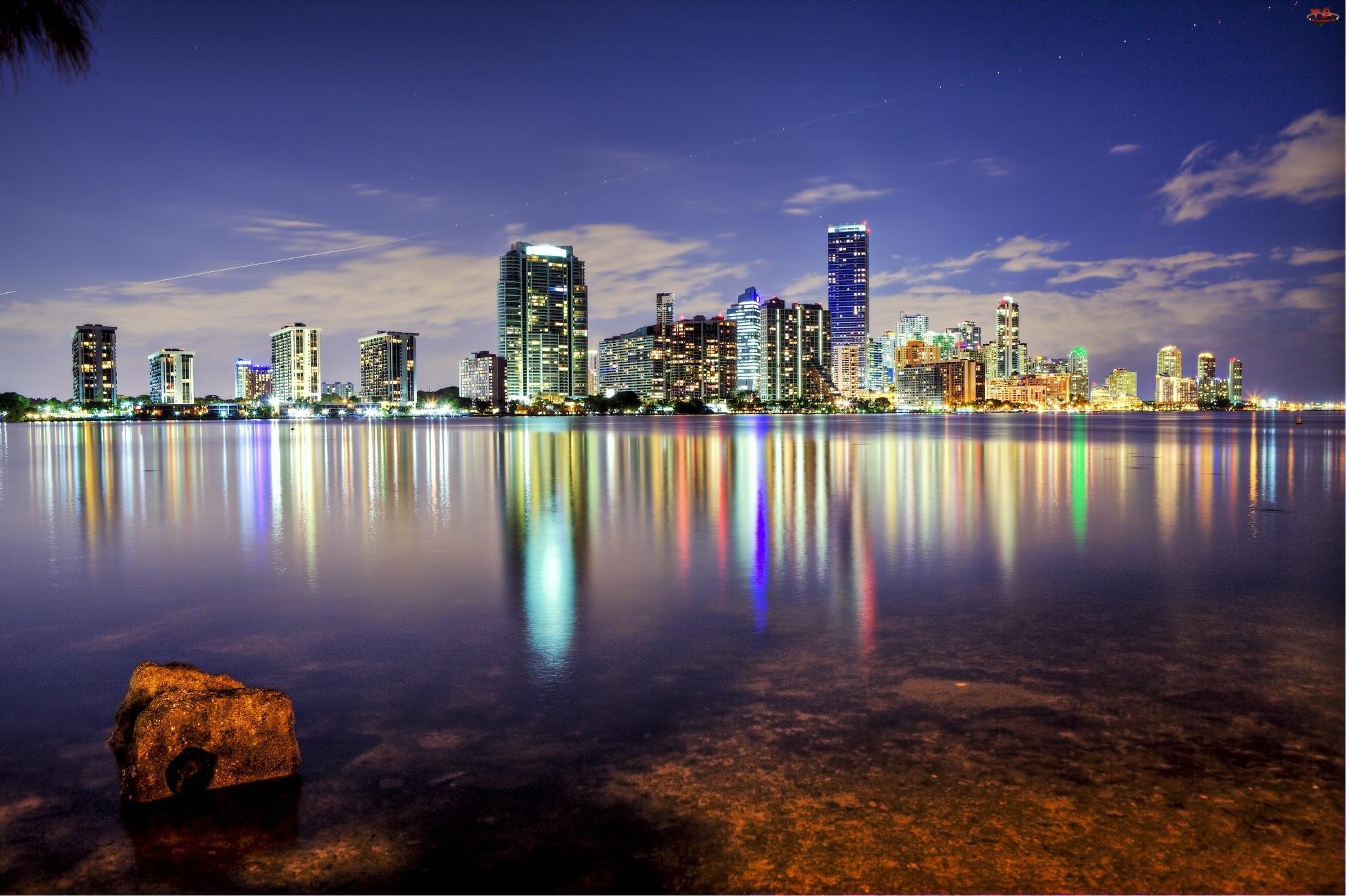 Floryda, Drapacze, Ocean, Chmur, Majami