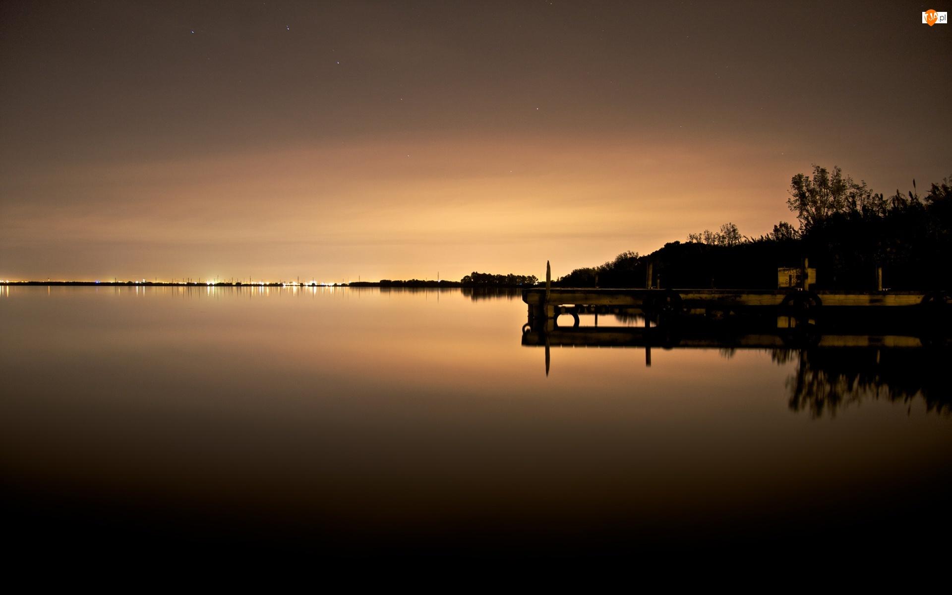 Niebo, Molo, Jezioro, Zmierzch