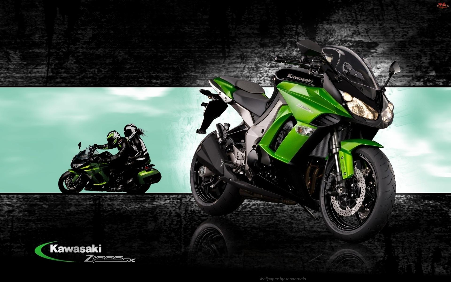 Kawasaki Z 1000 SX, Motocykliści, Zielony, Motocykl