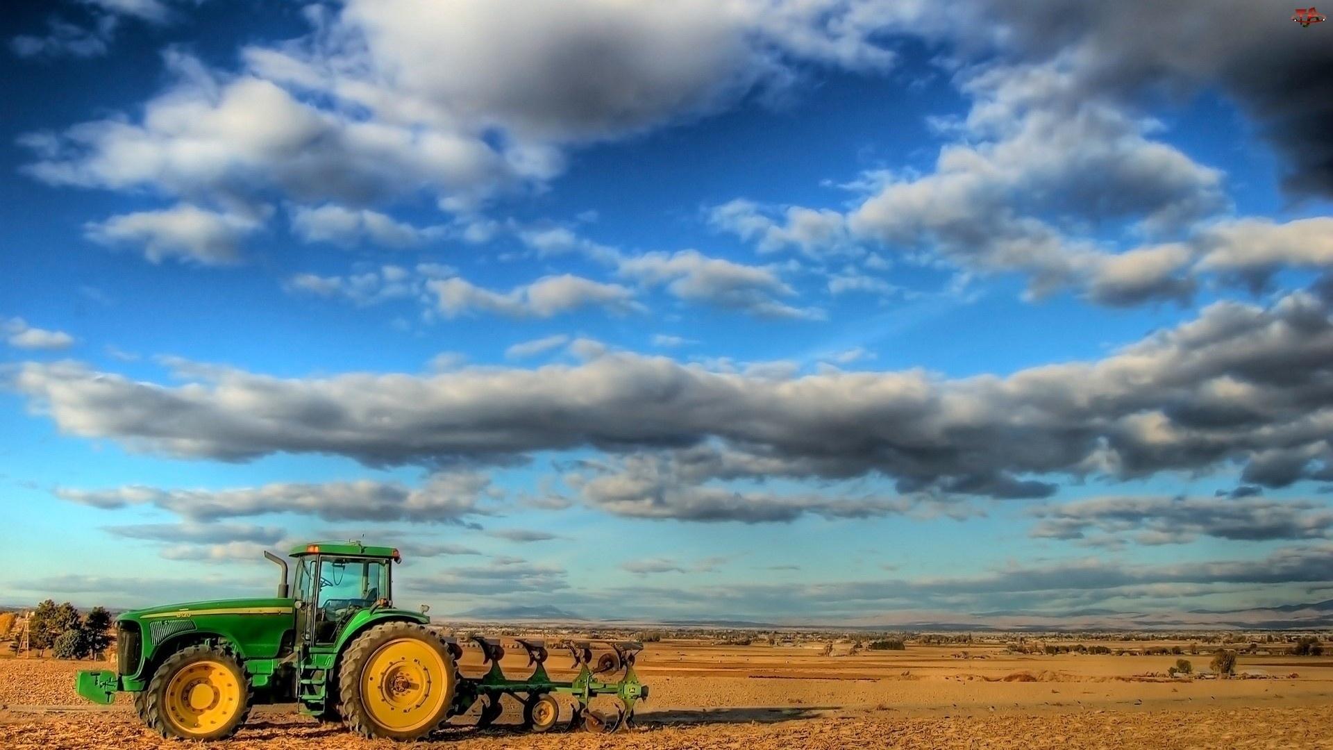 Chmury, Traktor, Uprawne, Pola, Orka
