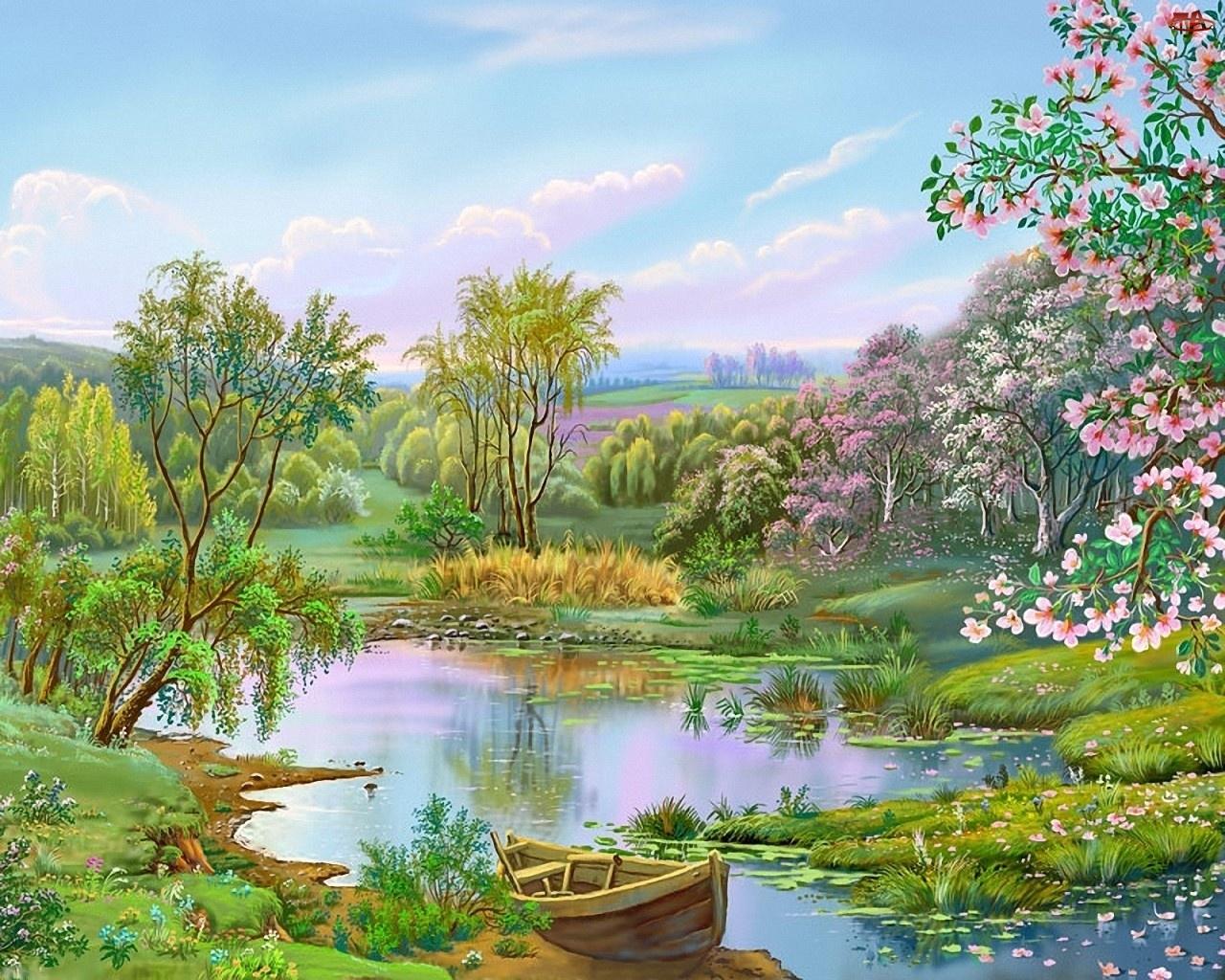 Wiosna, Jezioro, Kwitnące, Łódka, Drzewo