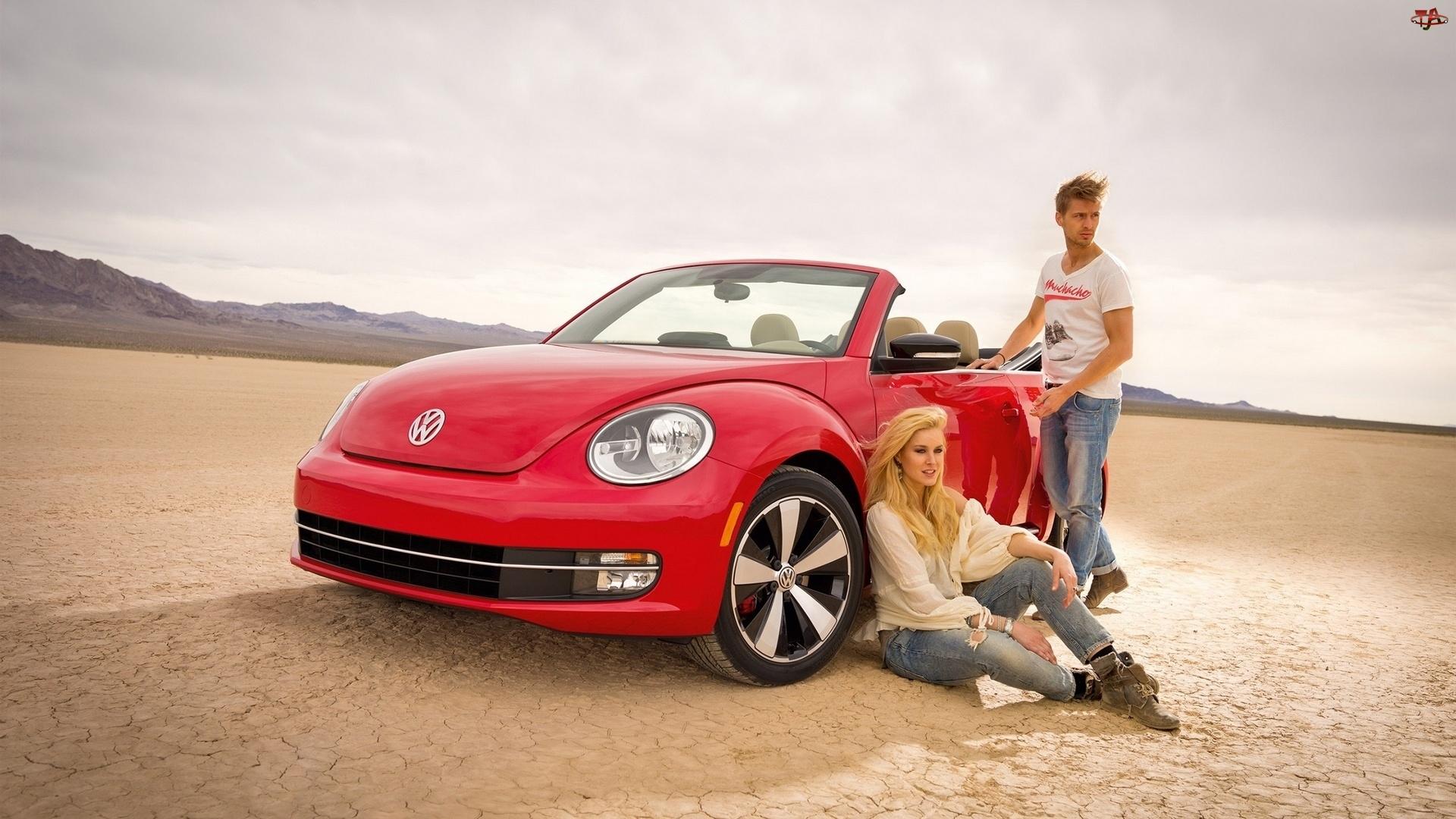 Volkswagen, Mężczyzna, Plaża, Kobieta