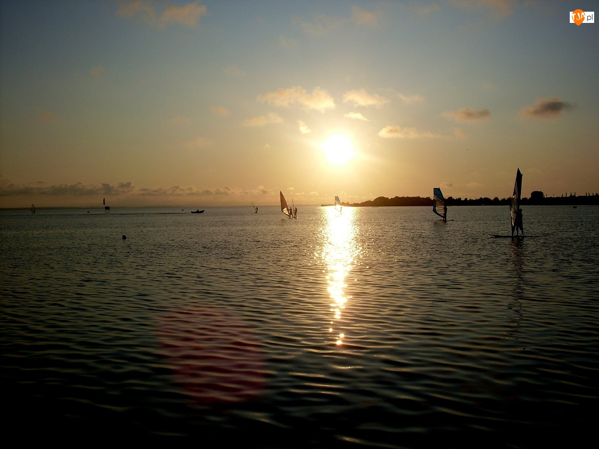 Windsurfing, Krajobraz, Jezioro