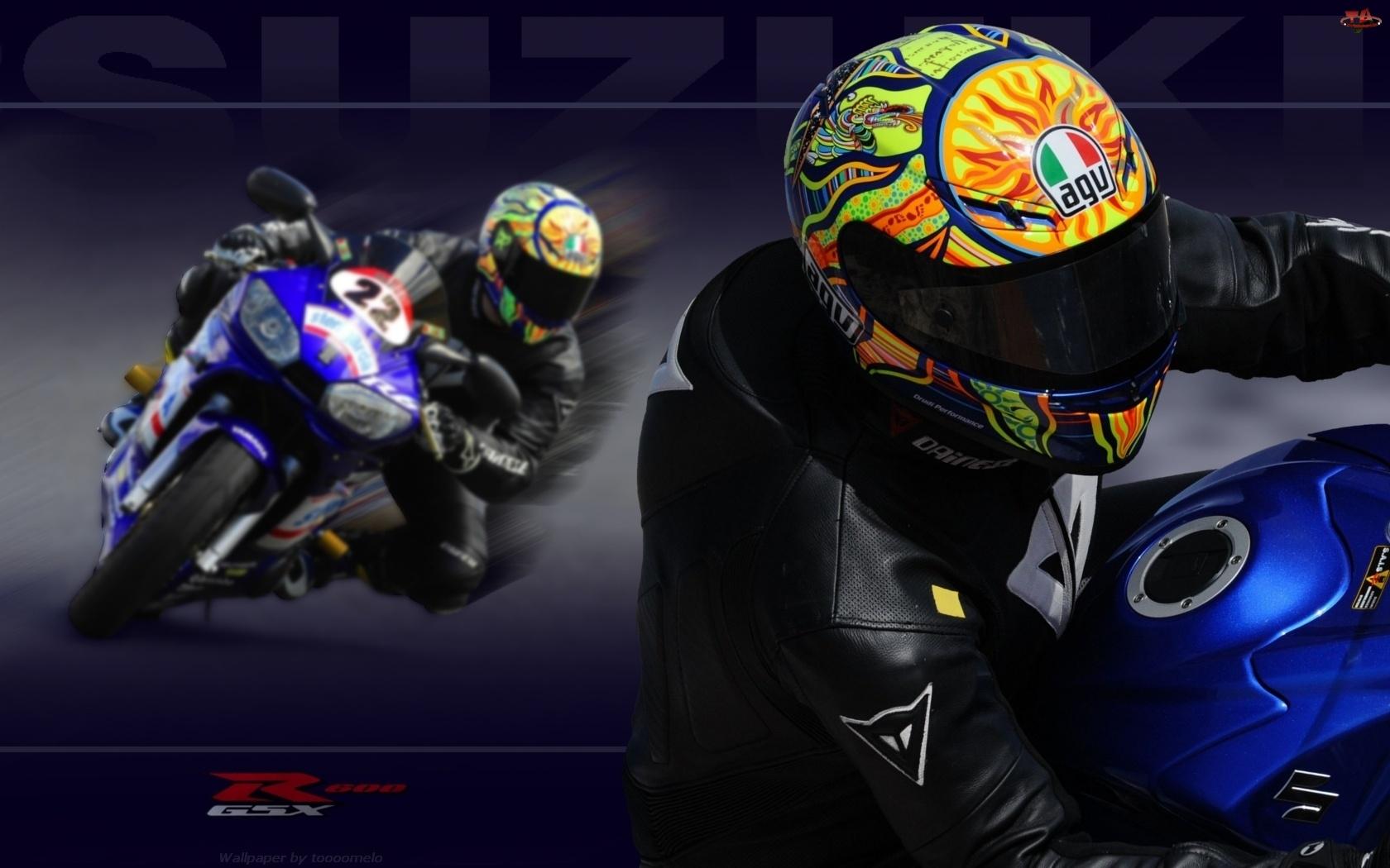 Motor, Suzuki GSX-R 600, Motocyklista