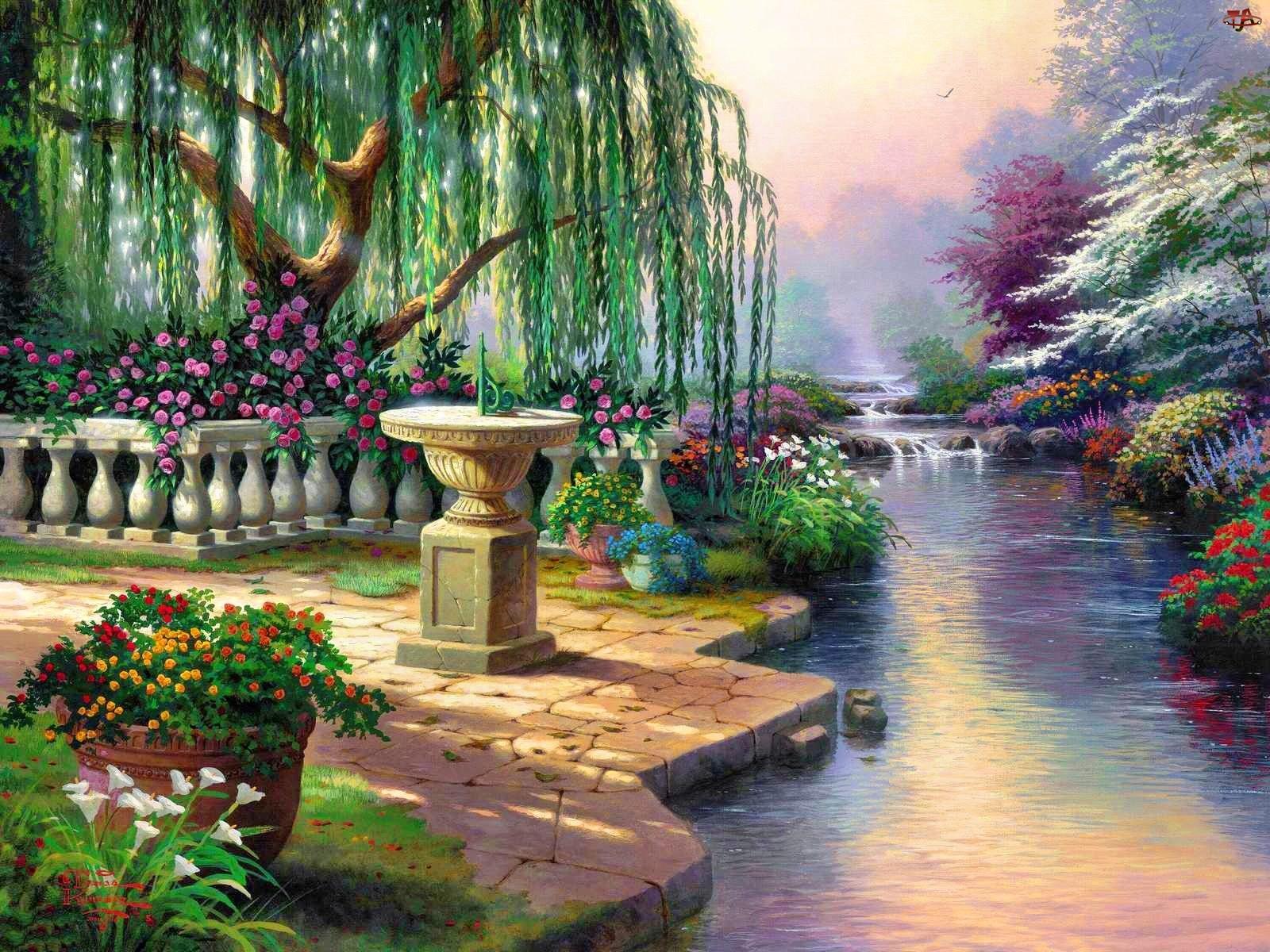 Malarstwo, Piękny, Ogród