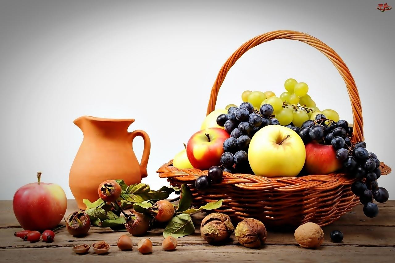 Dzbanek, Kosz, Orzechy, Gliniany, Jabłka, Winogrona, Owoców