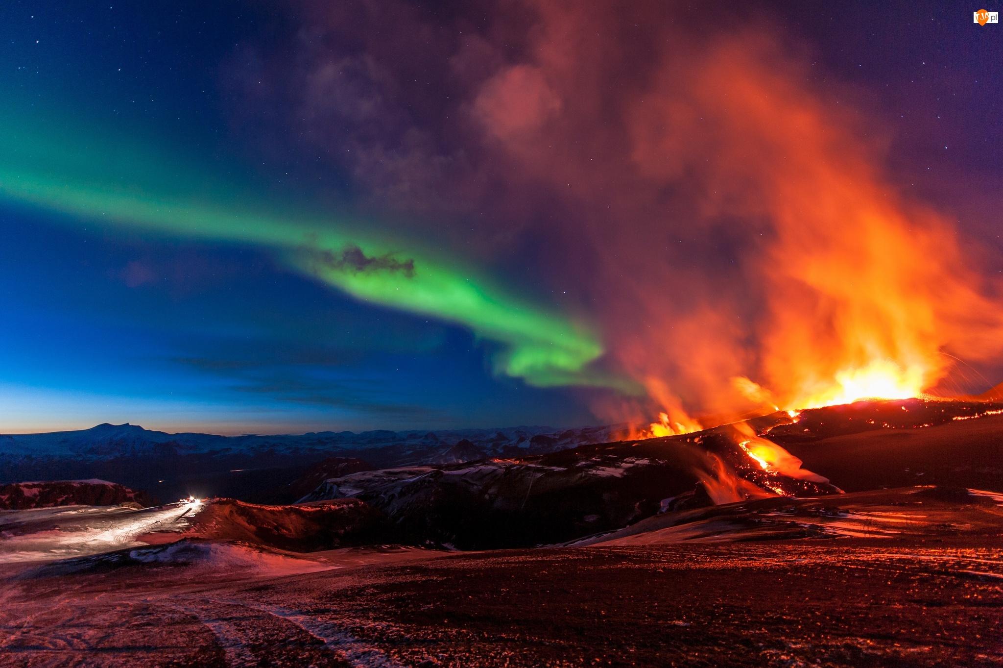Erupcja, Zorza, Islandia, Polarna, Góry, Wulkanu
