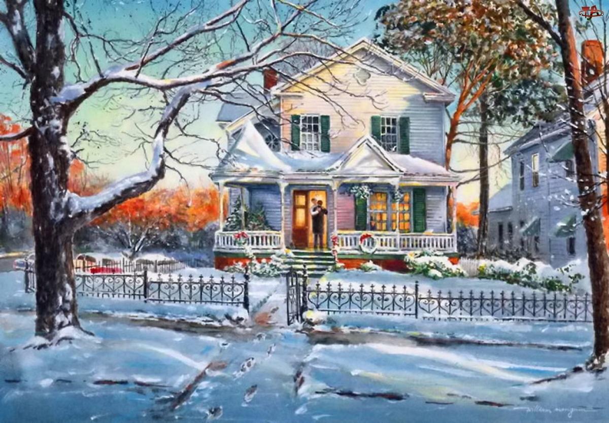 Malarstwo, Dom, Boże, Zima, Narodzenie