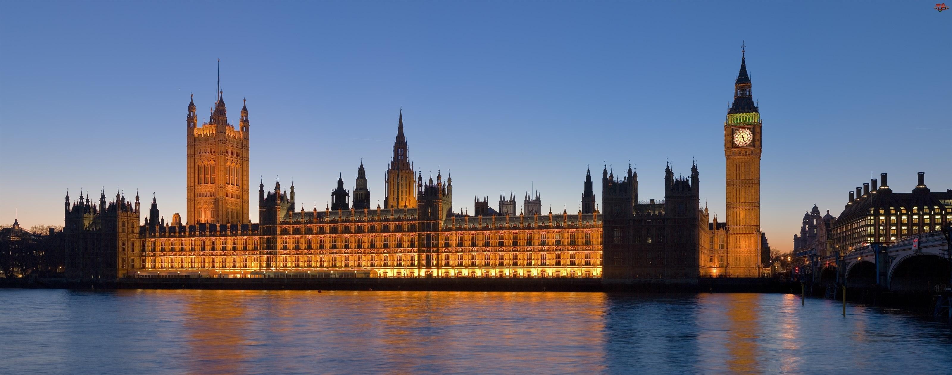 Londyn, Pałac, Big Ben, Westminster, Tamiza
