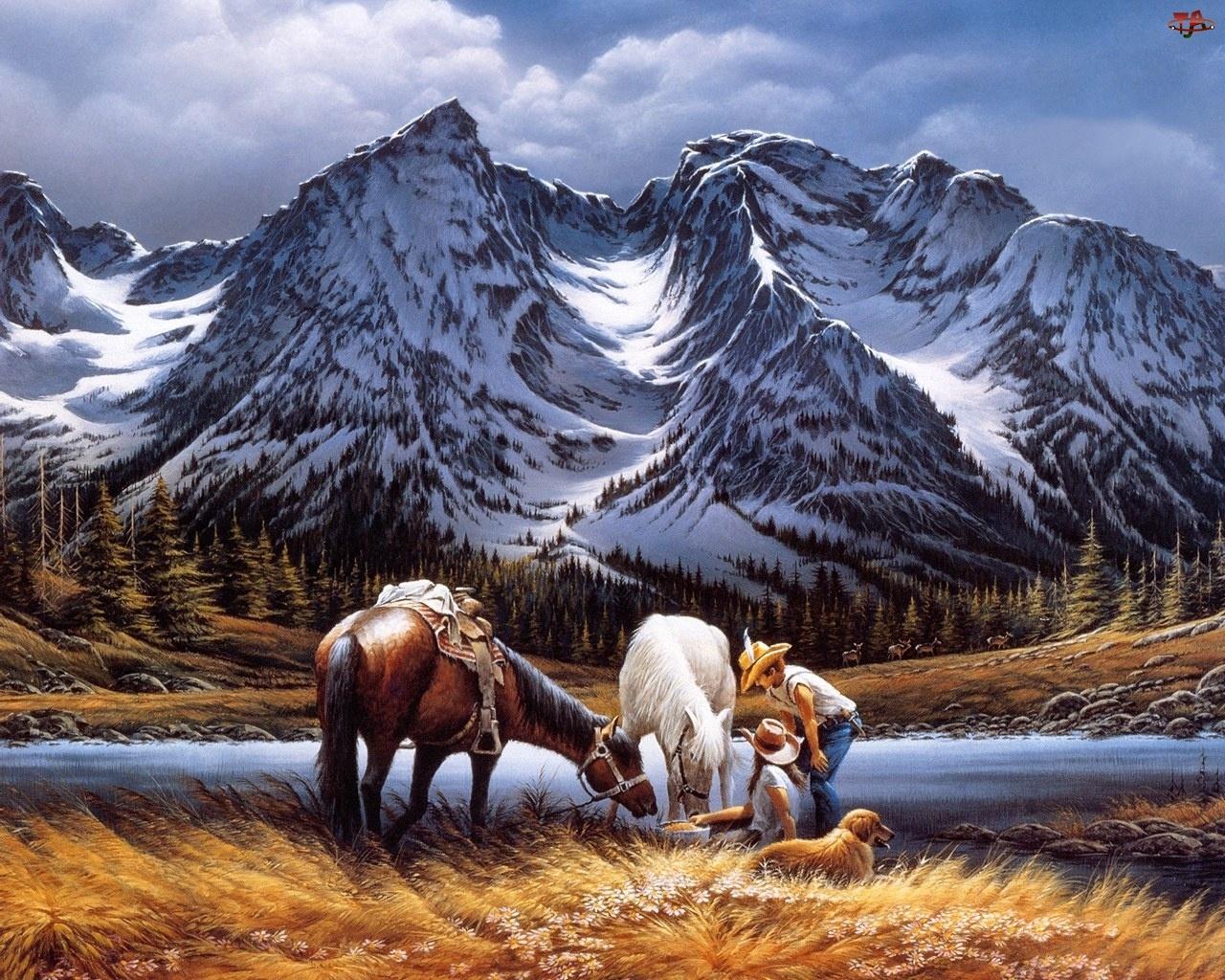 Malarstwo, Ośnieżone, Łąka, Góry, Konie