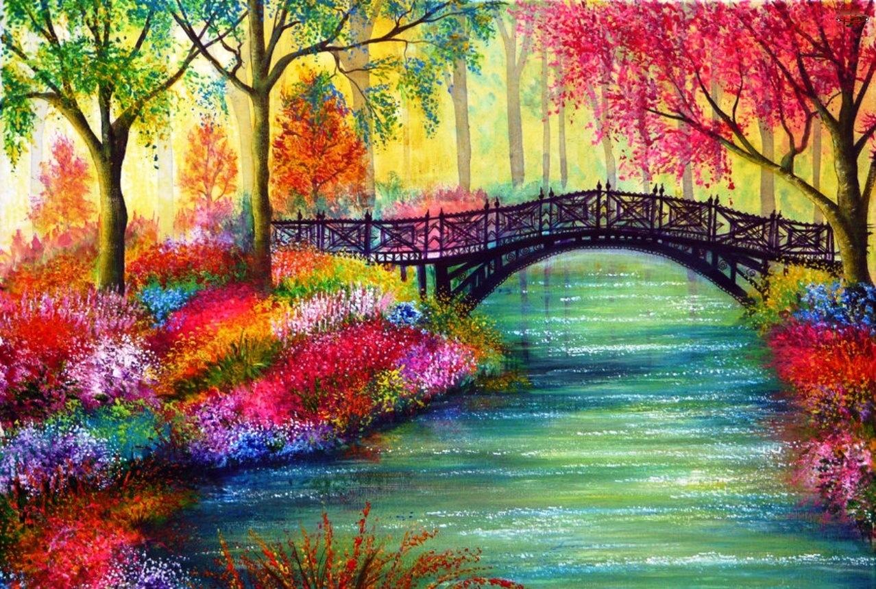 Rzeka, Kwiaty, Most, Drzewa
