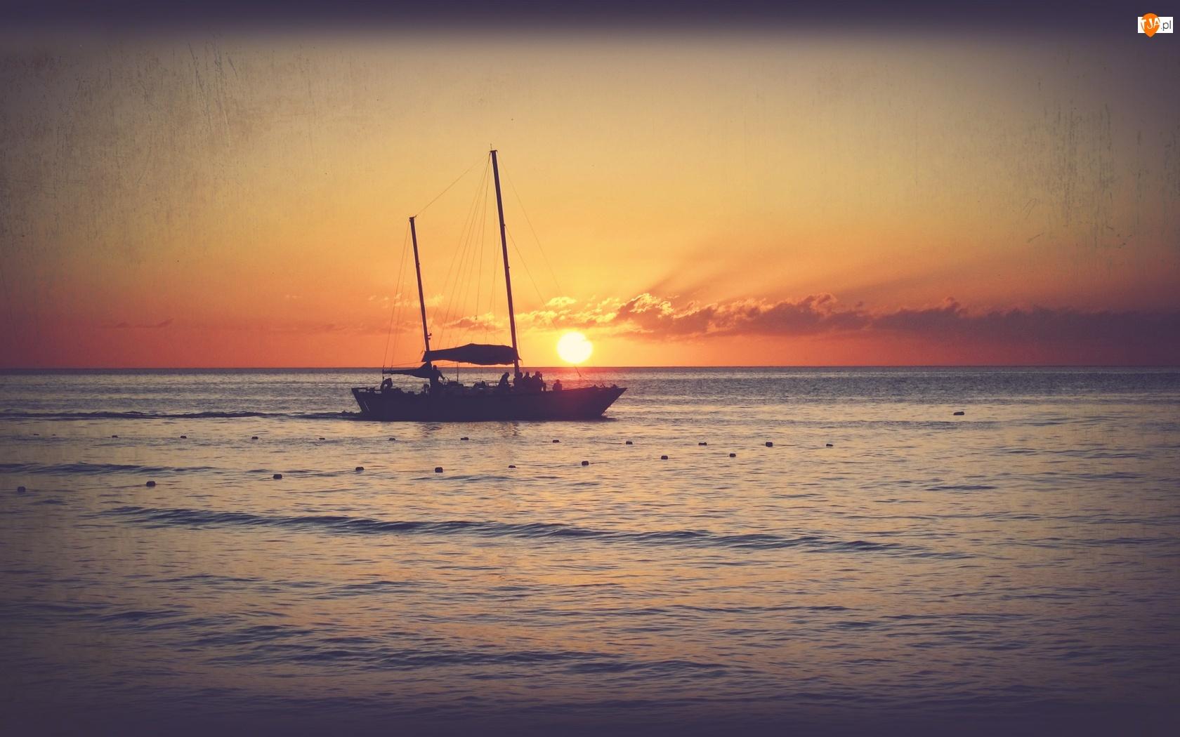 Morze, Słońca, Łódz, Zachód