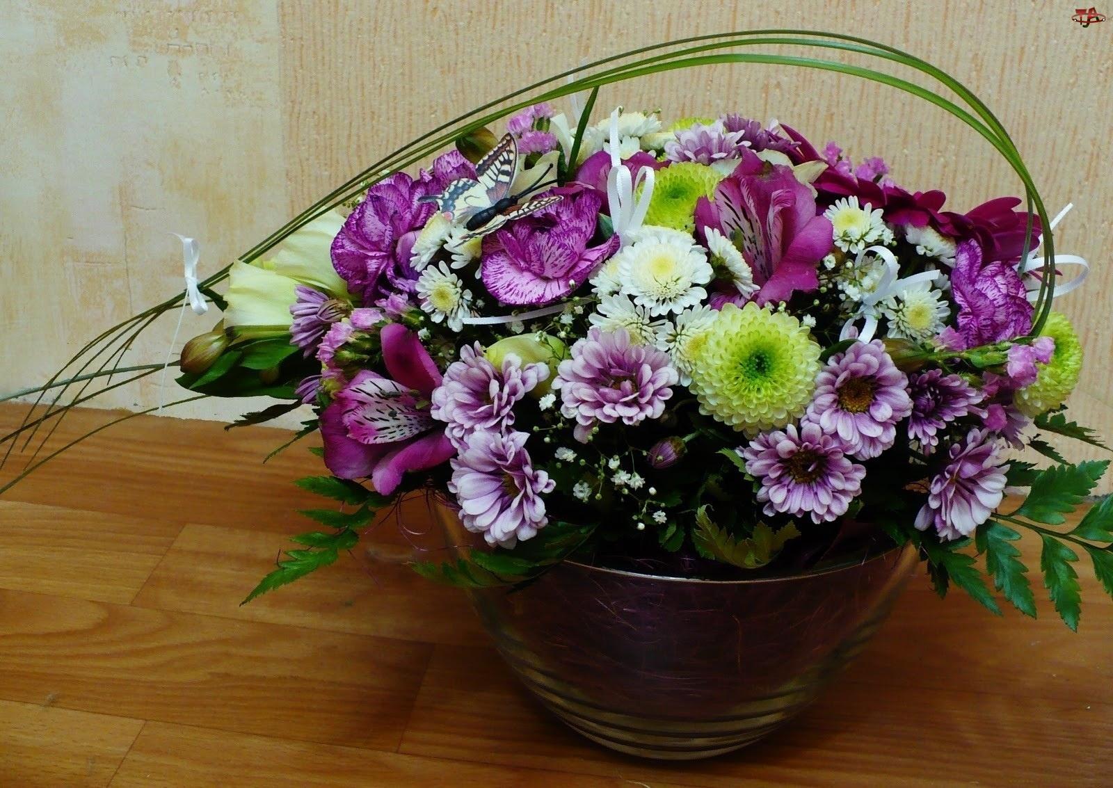 Kosz, Kwiatów, Bukiet, Fioletowych